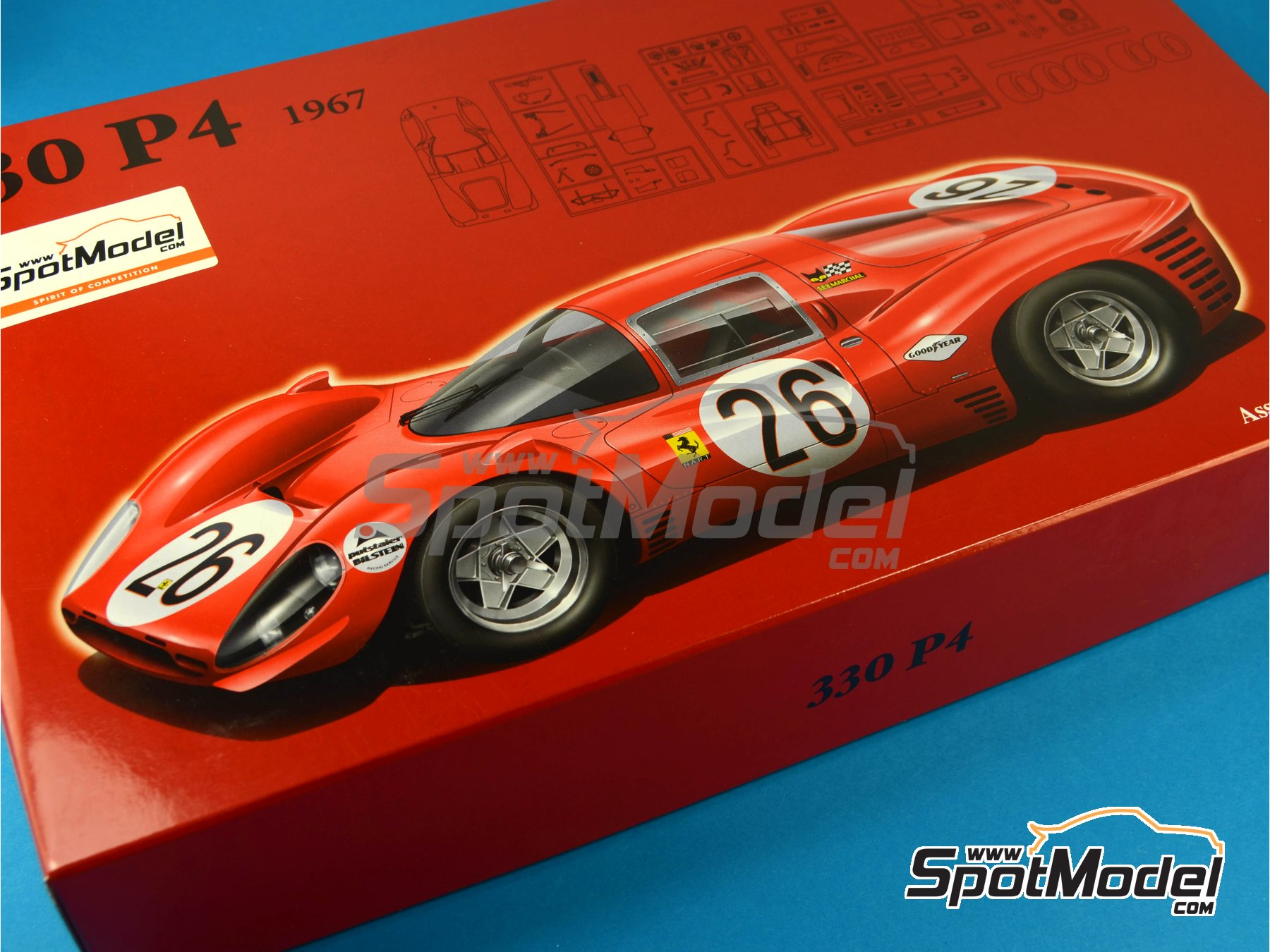 Image 16: Ferrari 330 P4 SEV Marchal - 24 Hours Daytona 1967 | Model car kit in 1/24 scale manufactured by Fujimi (ref. FJ125756)