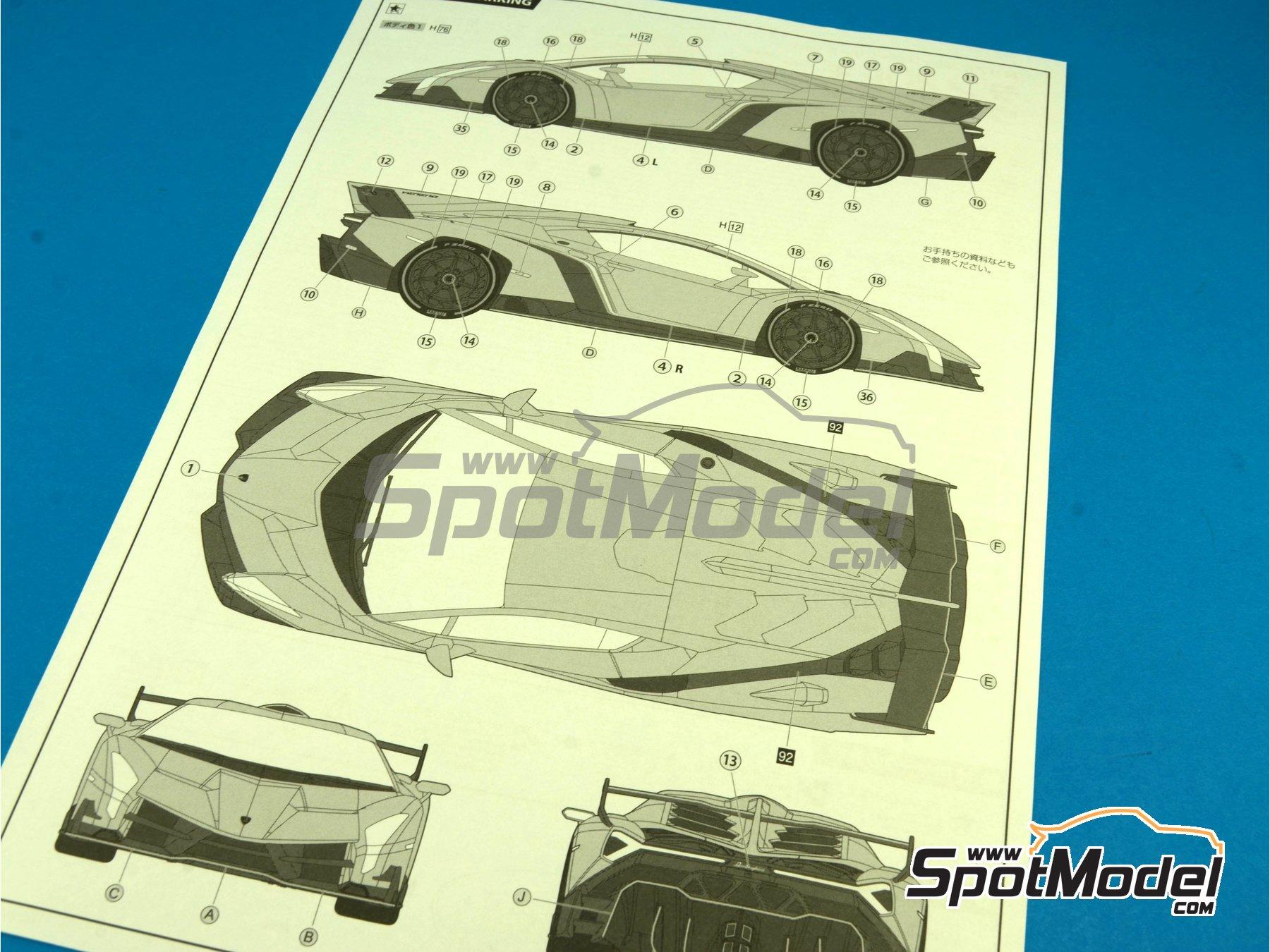 Image 19: Lamborghini Veneno | Maqueta de coche en escala1/24 fabricado por Fujimi (ref.FJ12583, tambien 125831, 12583, RS-01 y RS-1)