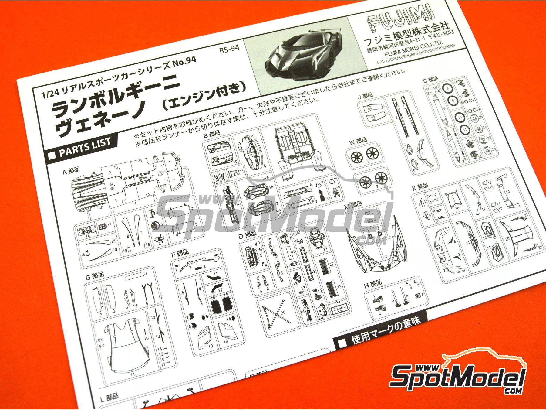 Image 17: Lamborghini Veneno: advanced version (detailed engine) | Model car kit in 1/24 scale manufactured by Fujimi (ref.FJ125923, also 125923, FUJ125923 and RS-94)