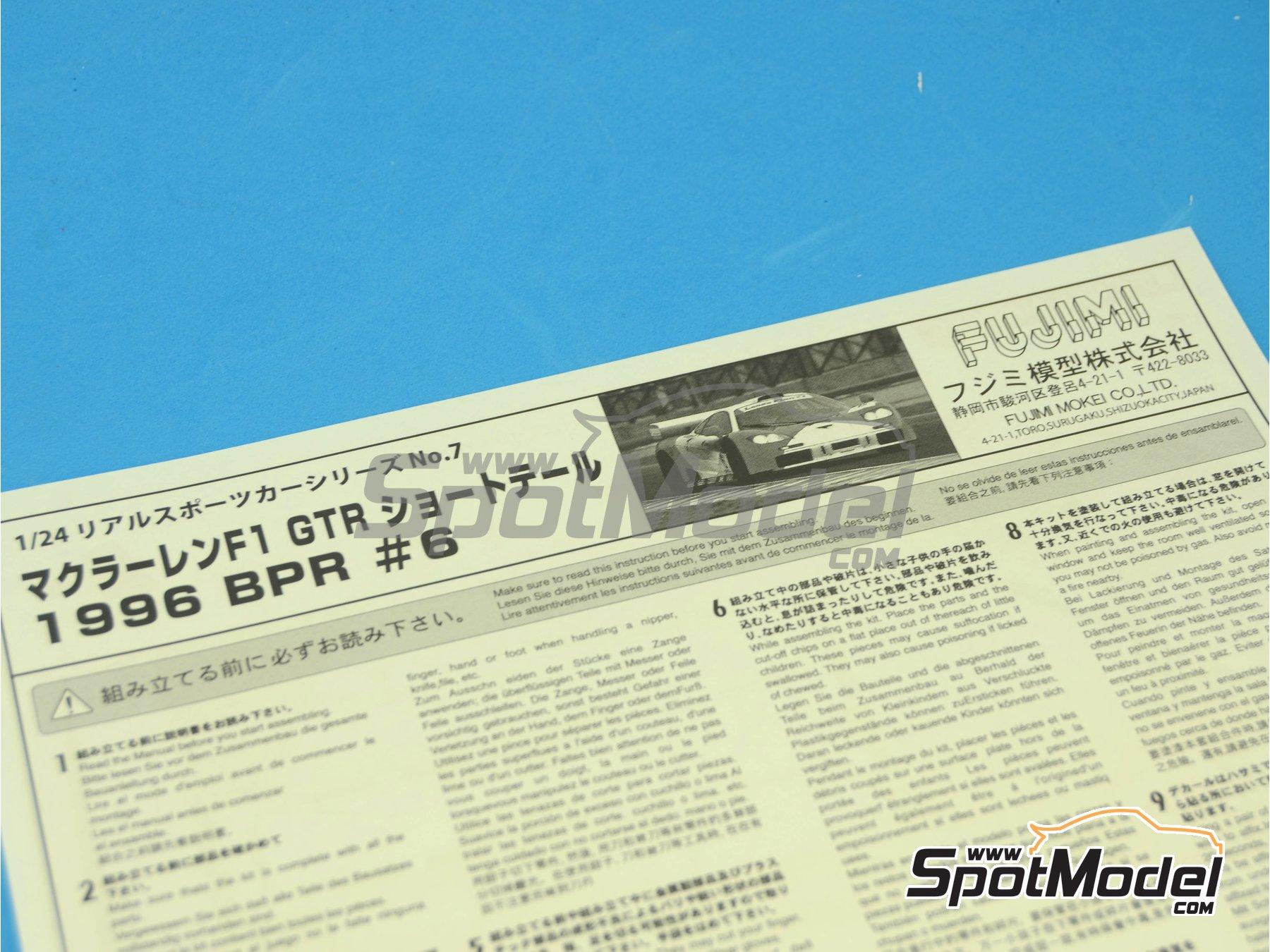 Image 4: McLaren F1 GTR Short Tail Marlboro - BPR Zhuhai 1996 | Maqueta de coche en escala1/24 fabricado por Fujimi (ref.FJ126012)