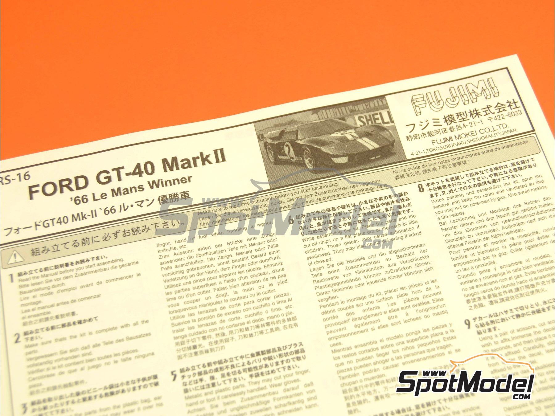 Image 1: Ford GT40 Mk II - 24 Horas de Le Mans 1966 | Maqueta de coche en escala1/24 fabricado por Fujimi (ref.FJ126036, tambien 126036 y RS-16)