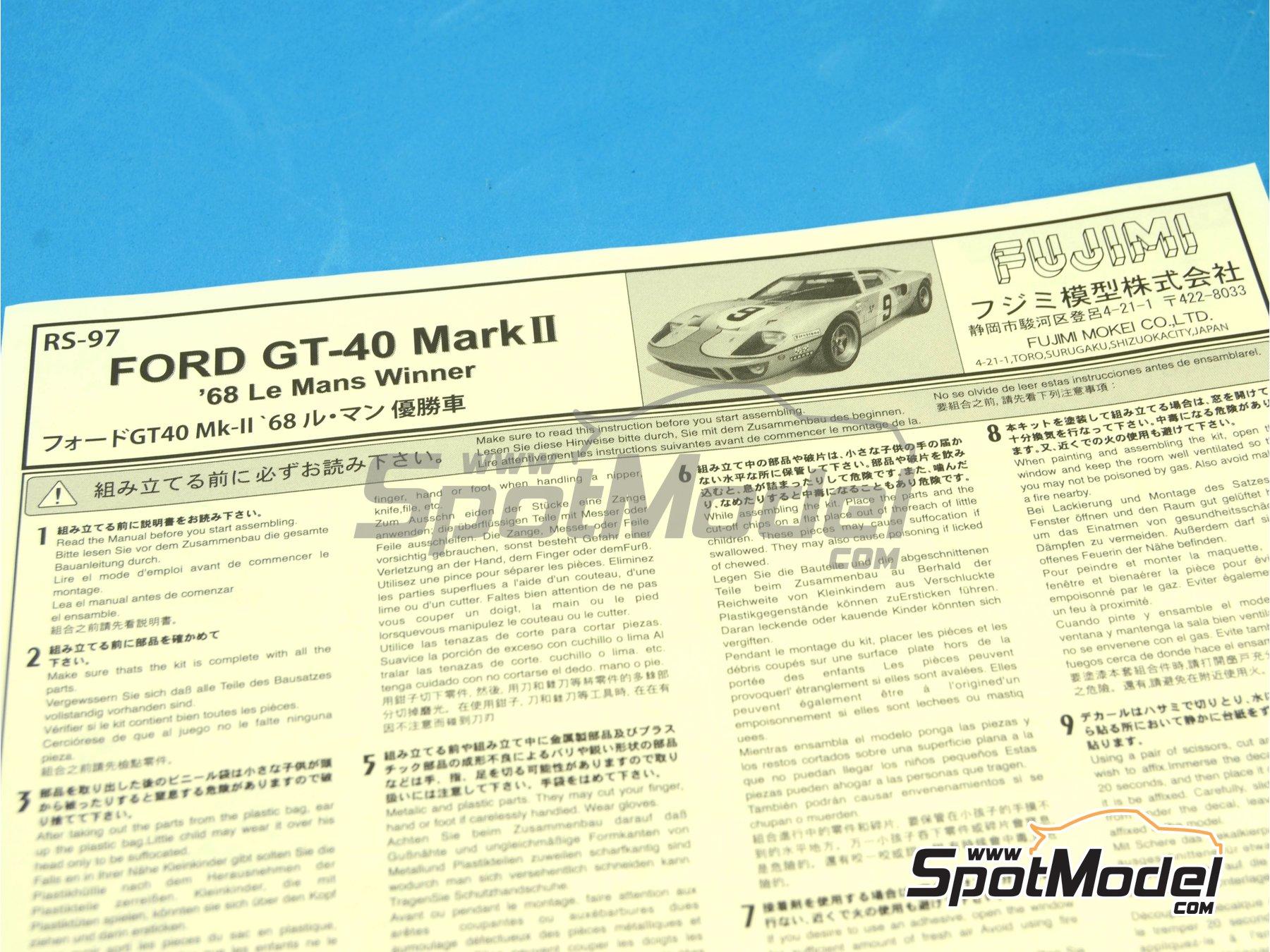 Image 3: Ford GT40 Mk II Gulf - 24 Horas de Le Mans 1968 | Maqueta de coche en escala1/24 fabricado por Fujimi (ref.FJ126050, tambien 126050 y RS-97)