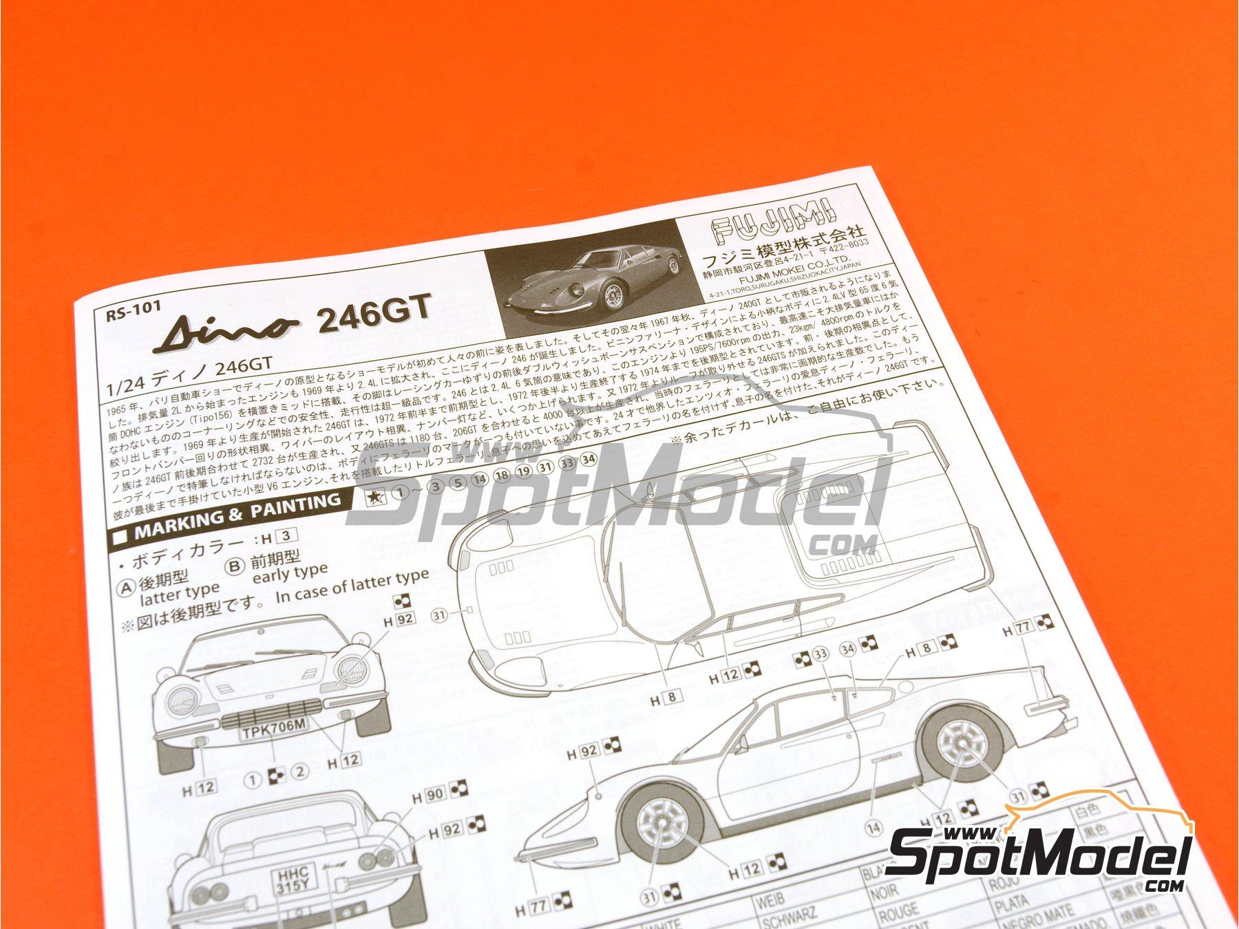 Image 10: Ferrari Dino 246GT | Maqueta de coche en escala1/24 fabricado por Fujimi (ref.FJ126234, tambien 126234, 12623 y RS-101)