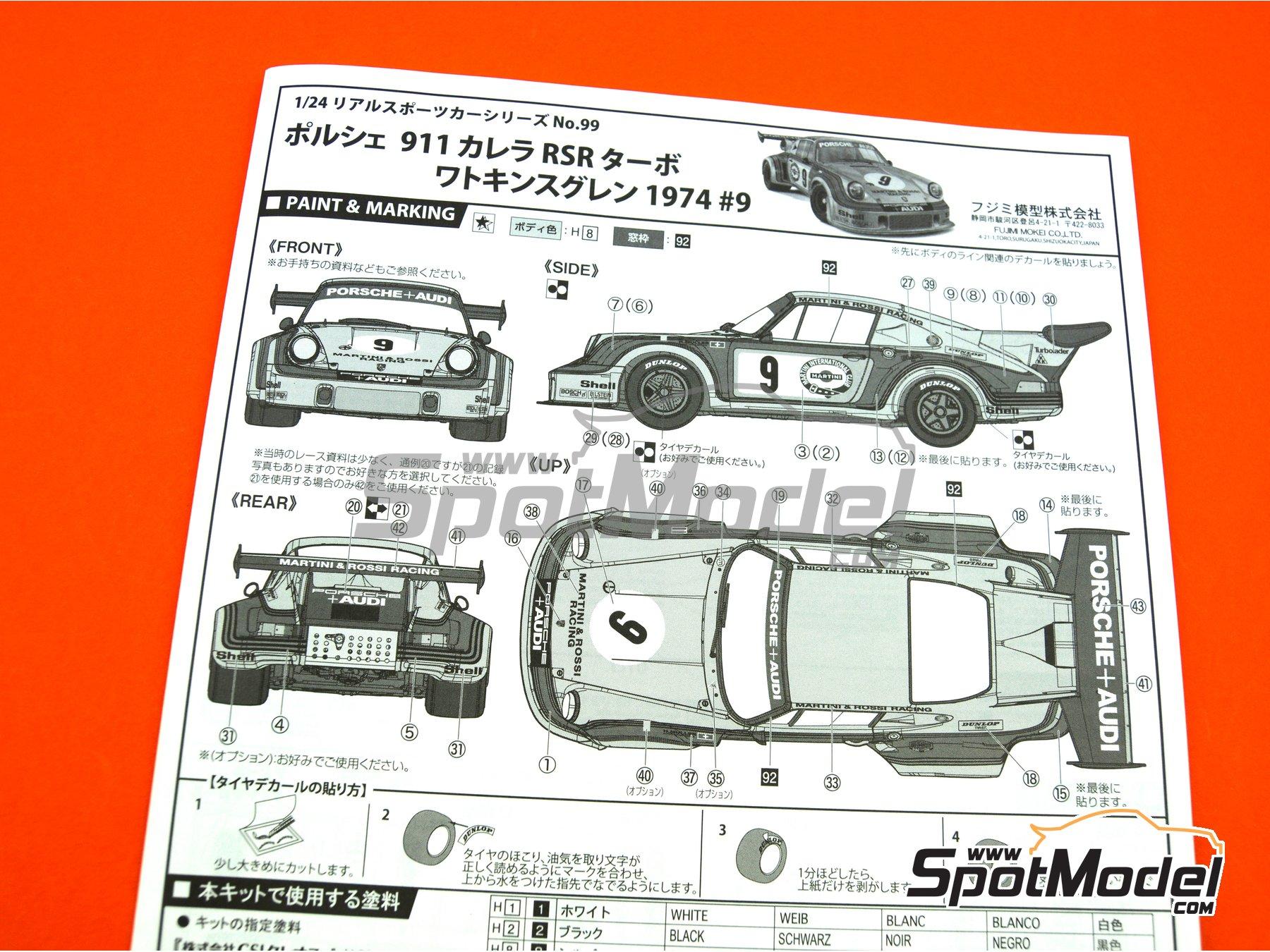 Image 14: Porsche 911 Carrera RSR Turbo Martini Rossi Porsche Audi - 6 horas de Watkins Glen 1974 | Maqueta de coche en escala1/24 fabricado por Fujimi (ref.FJ126494, tambien 126494 y RS-99)
