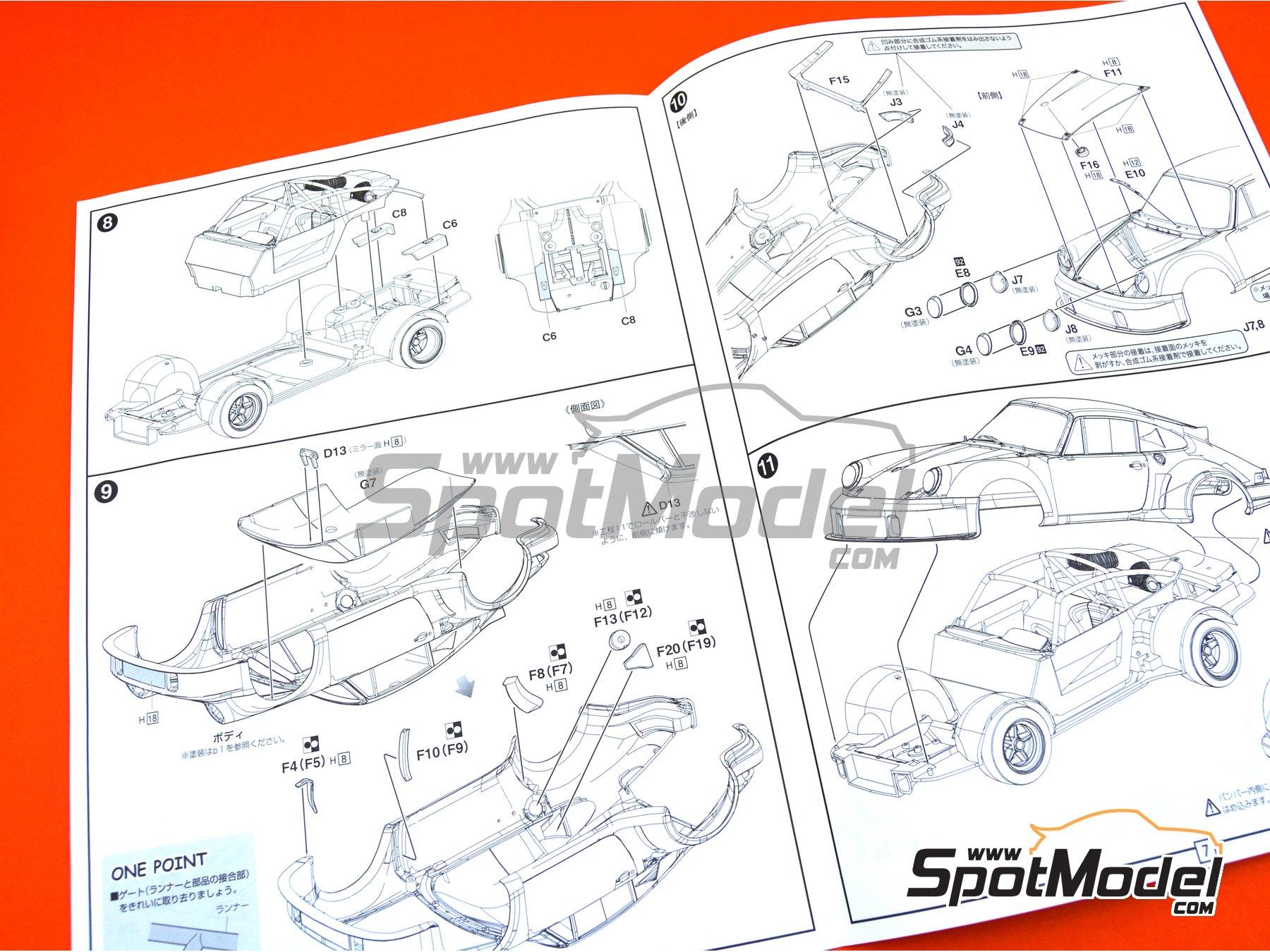 Image 16: Porsche 911 Carrera RSR Turbo Martini Rossi Porsche Audi - Watkins Glen 6 Hours 1974   Model car kit in 1/24 scale manufactured by Fujimi (ref.FJ126494, also 126494 and RS-99)