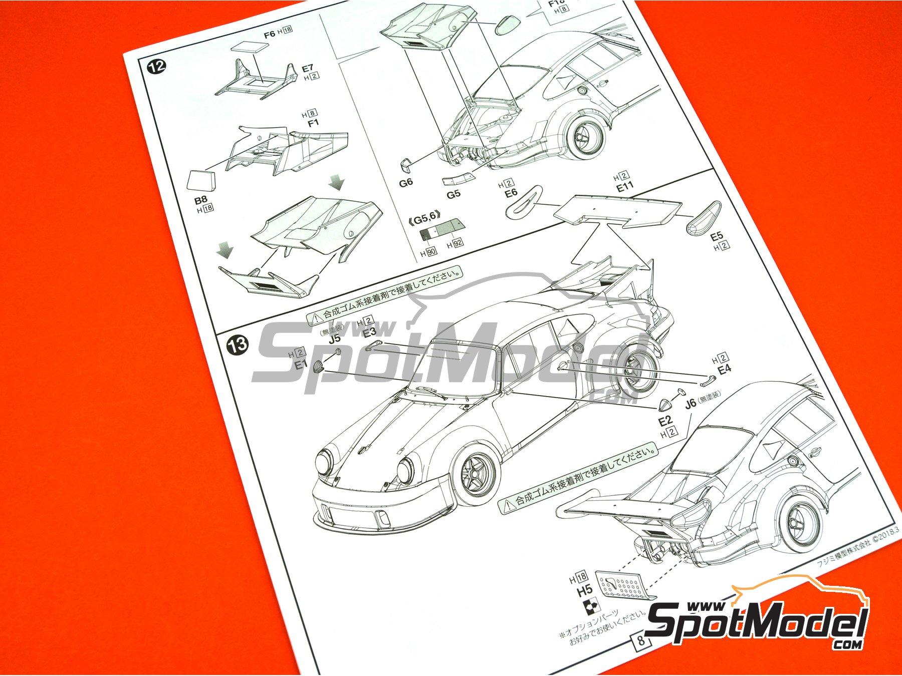 Image 17: Porsche 911 Carrera RSR Turbo Martini Rossi Porsche Audi - 6 horas de Watkins Glen 1974 | Maqueta de coche en escala1/24 fabricado por Fujimi (ref.FJ126494, tambien 126494 y RS-99)