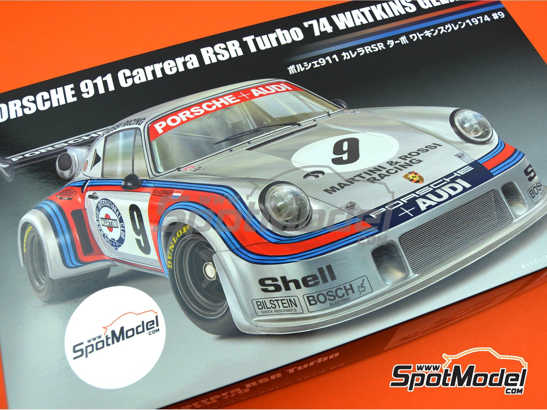 Image 18: Porsche 911 Carrera RSR Turbo Martini Rossi Porsche Audi - 6 horas de Watkins Glen 1974 | Maqueta de coche en escala1/24 fabricado por Fujimi (ref.FJ126494, tambien 126494 y RS-99)