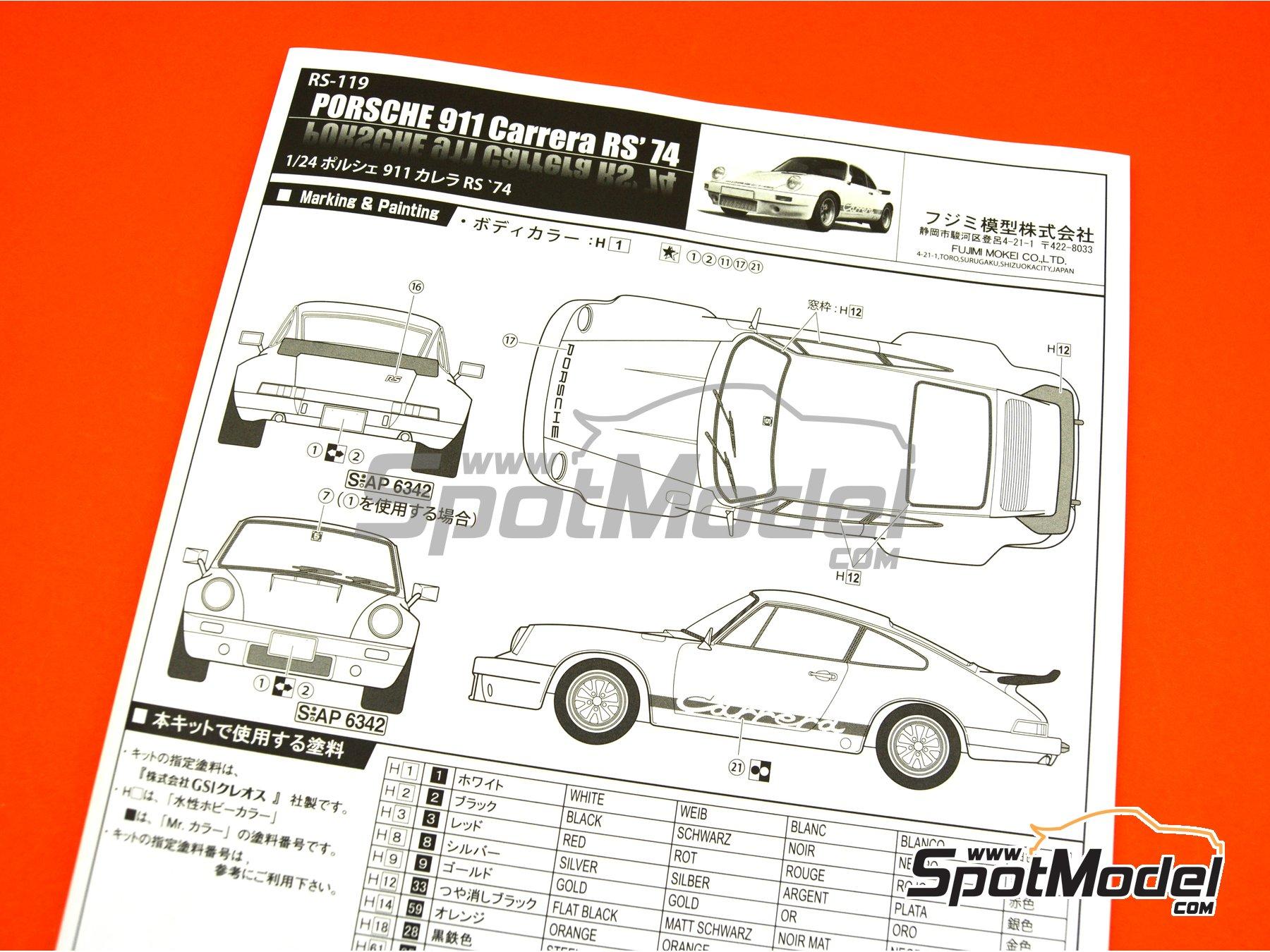 Image 13: Porsche 911 Carrera RS 3.0 -  1974 | Maqueta de coche en escala1/24 fabricado por Fujimi (ref.FJ126616, tambien 126616, RS-119 y 12661)