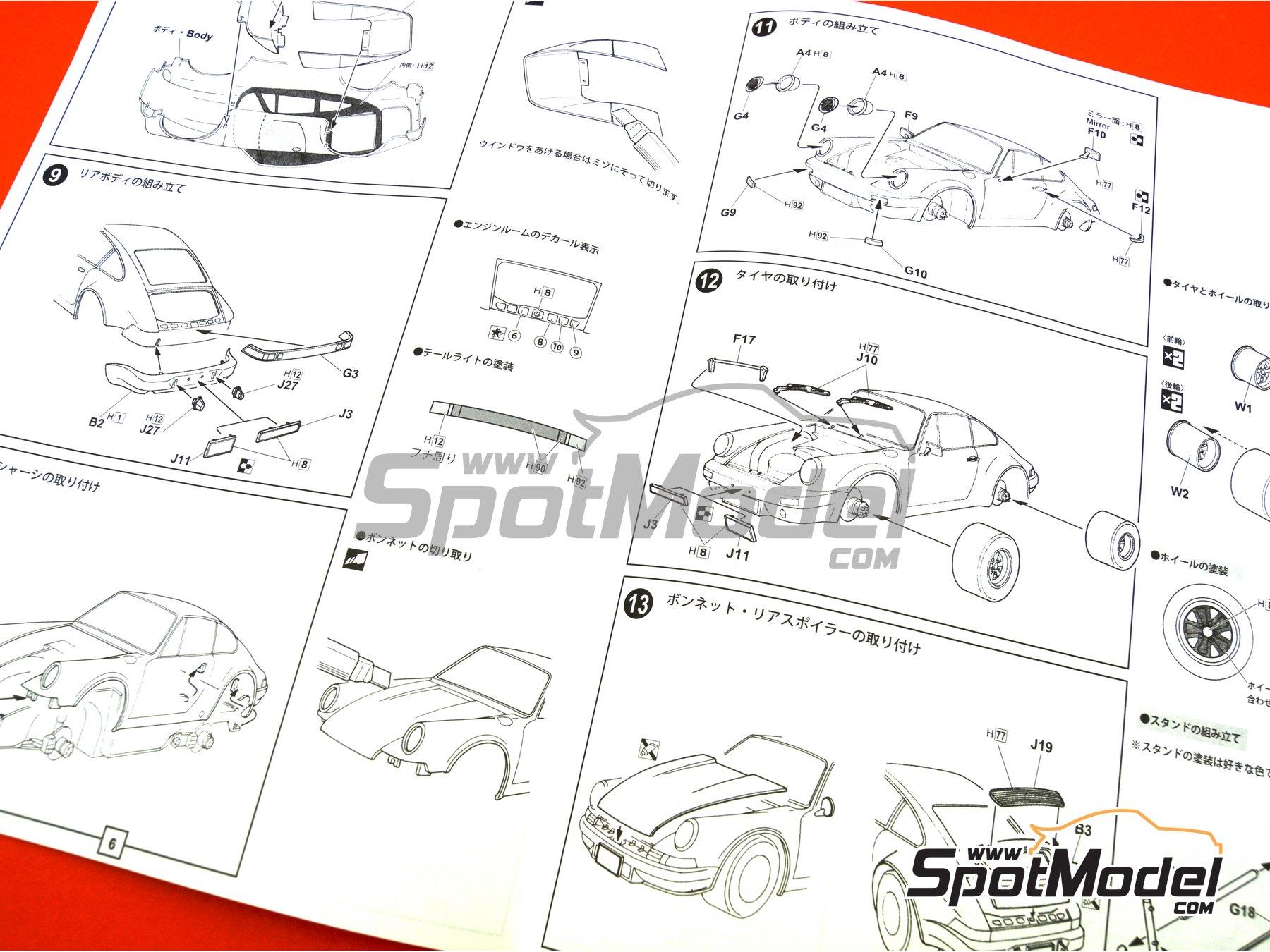 Image 15: Porsche 911 Carrera RS 3.0 -  1974 | Maqueta de coche en escala1/24 fabricado por Fujimi (ref.FJ126616, tambien 126616, RS-119 y 12661)