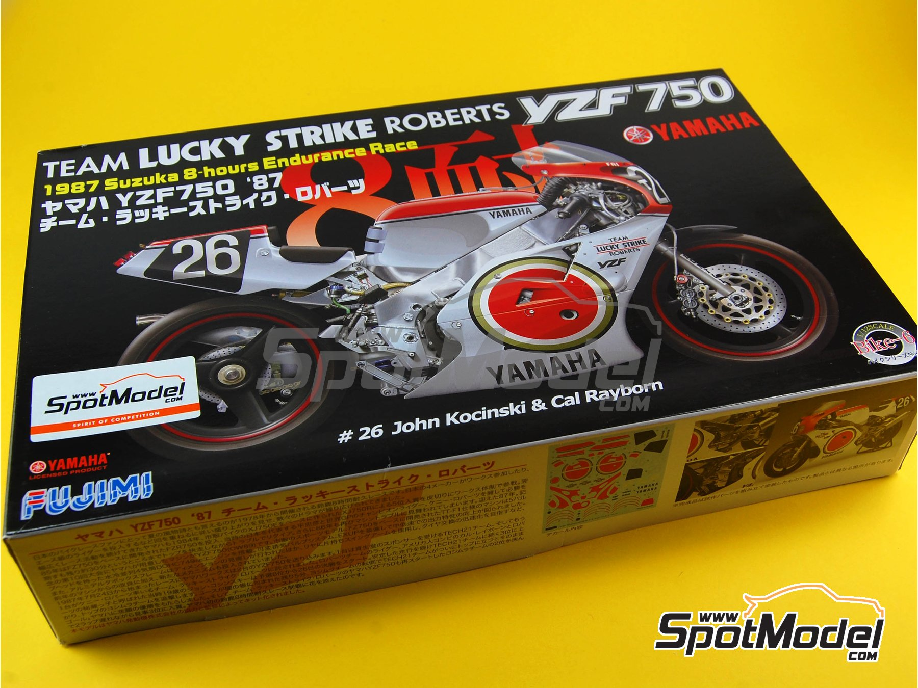 Image 13: Yamaha YZF 750 Lucky Strike - 8 Hours Suzuka Endurance Race 1987 | Model bike kit in 1/12 scale manufactured by Fujimi (ref.FJ141367, also 141367 and 14136)
