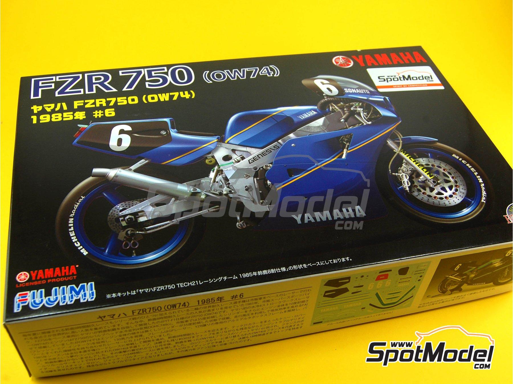 Image 1: Yamaha FZR750 OW74 Sonauto -  1985   Maqueta de moto en escala1/12 fabricado por Fujimi (ref.FJ141428, tambien 141428 y 14142)