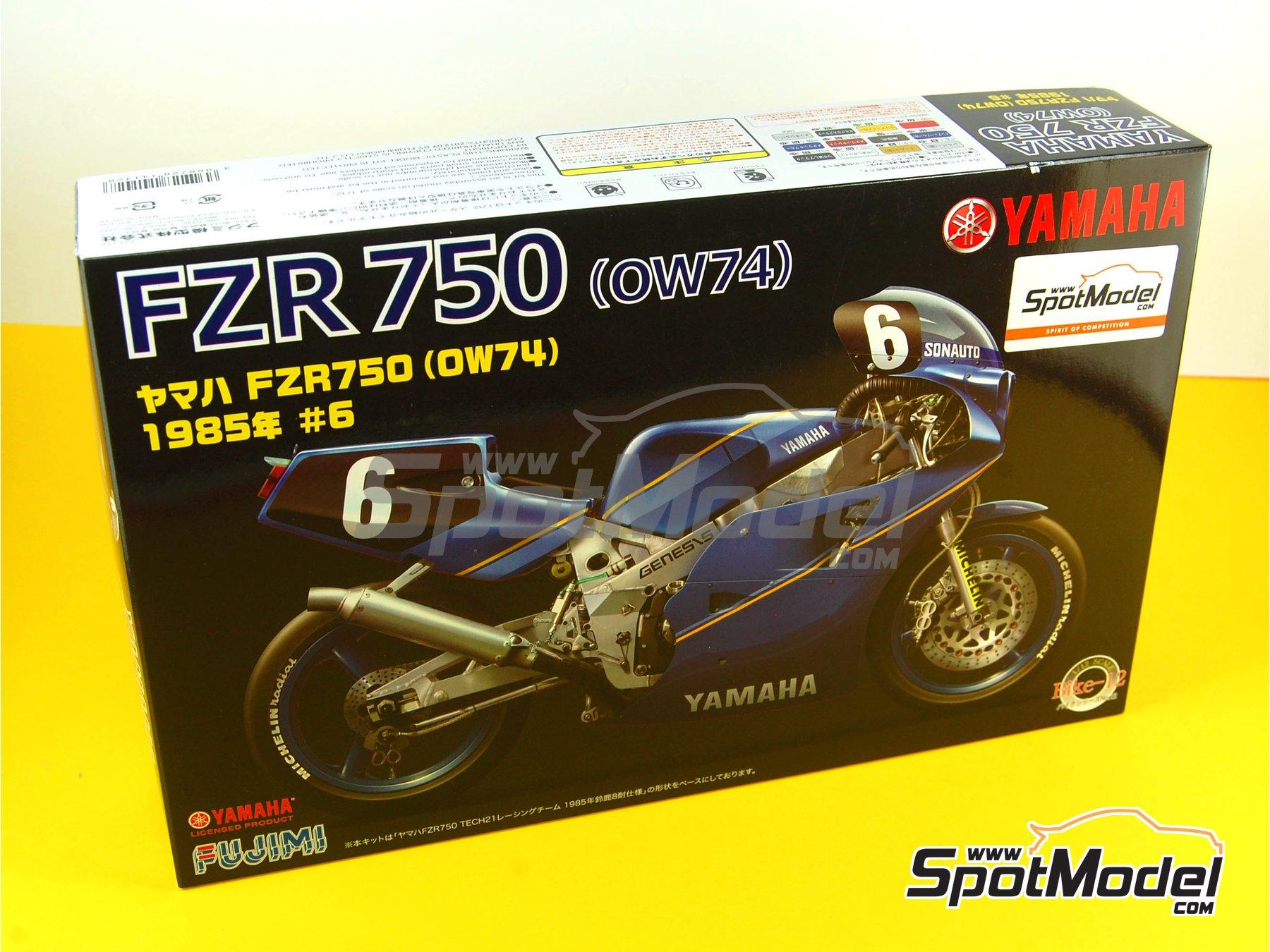 Image 18: Yamaha FZR750 OW74 Sonauto -  1985   Maqueta de moto en escala1/12 fabricado por Fujimi (ref.FJ141428, tambien 141428 y 14142)