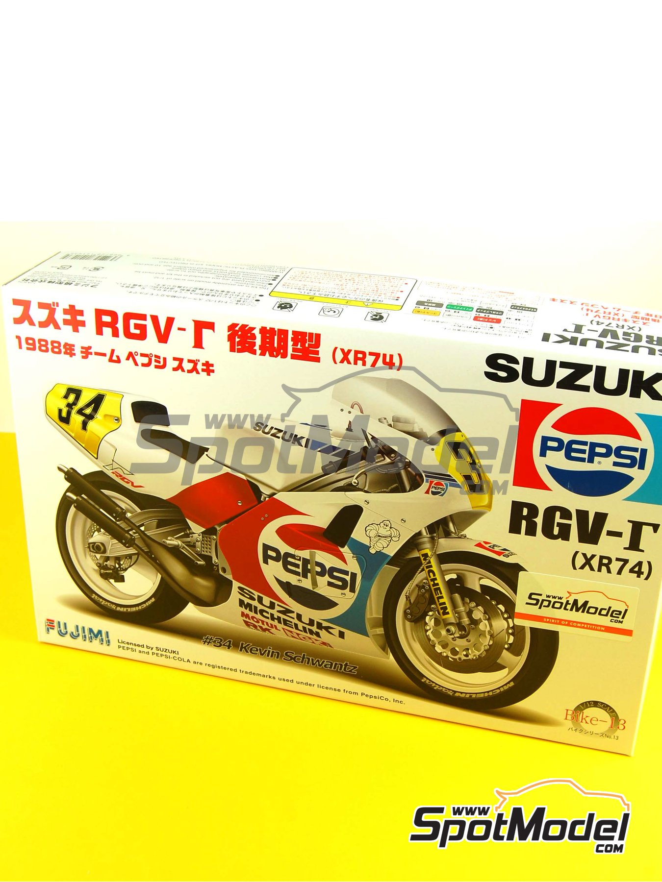 Suzuki RGV-G XR74 Pepsi - Motorcycle World Championship 1988 | Model bike kit in 1/12 scale manufactured by Fujimi (ref.FJ141435, also 141435 and 14143) image