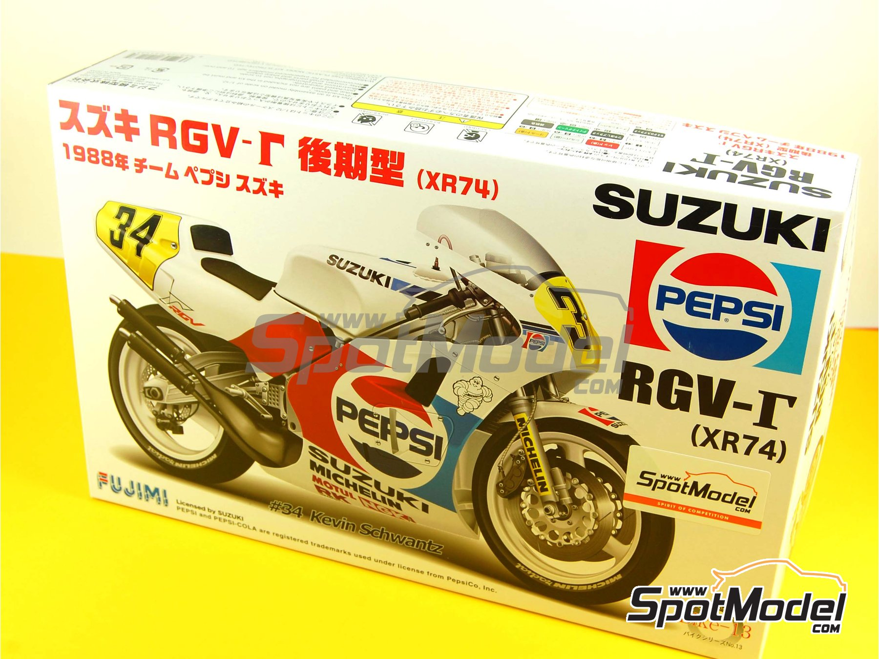 Image 1: Suzuki RGV-G XR74 Pepsi - Motorcycle World Championship 1988 | Model bike kit in 1/12 scale manufactured by Fujimi (ref.FJ141435, also 141435 and 14143)