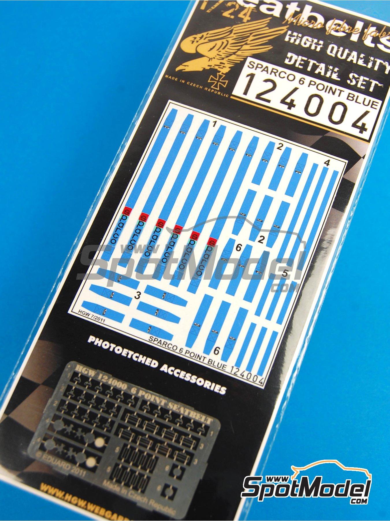 Juego de arnes de 6 puntos Sparco - Color azul | Cinturones en escala1/24 fabricado por HGW (ref.124004) image
