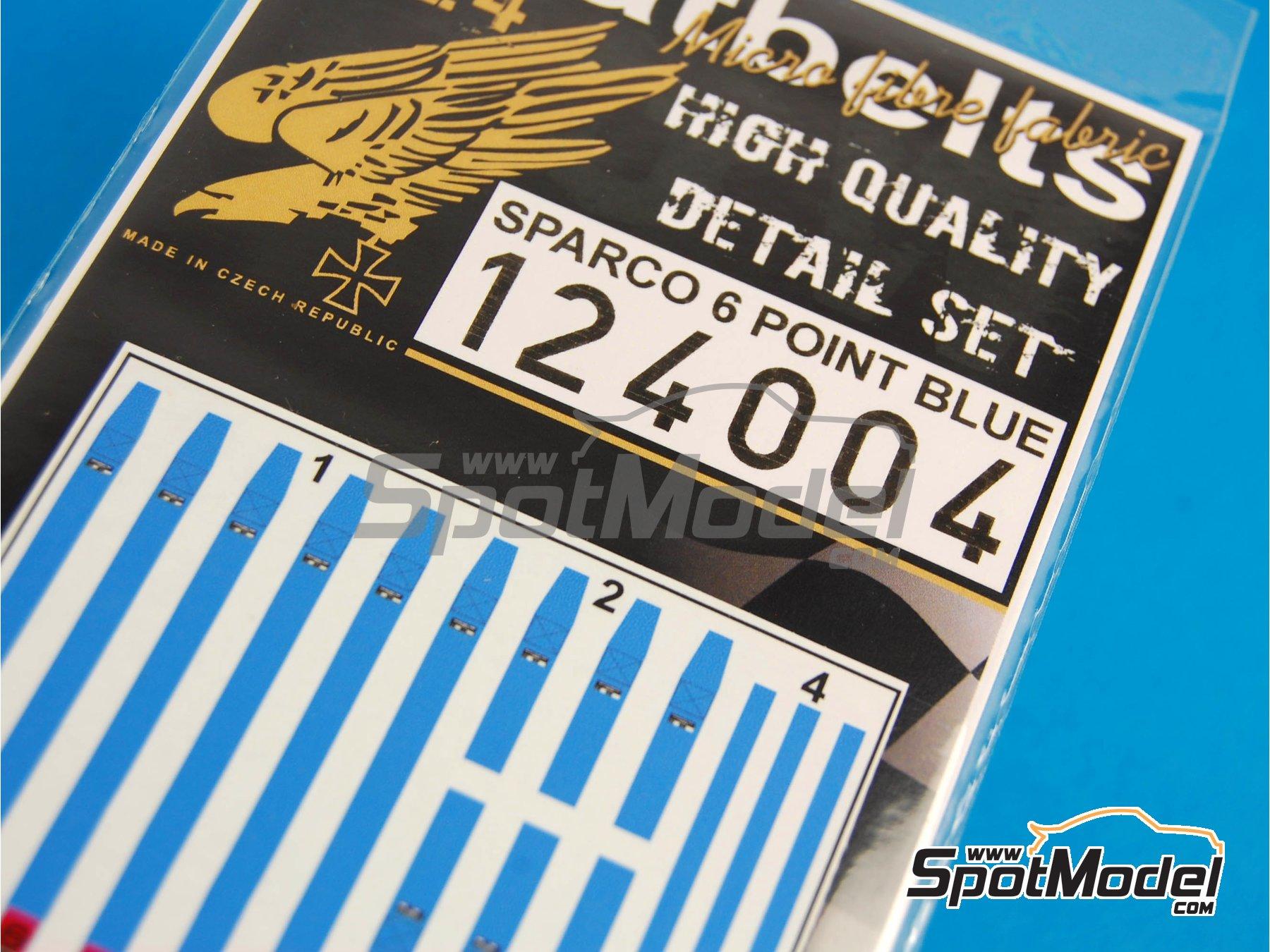 Image 5: Juego de arnes de 6 puntos Sparco - Color azul | Cinturones en escala1/24 fabricado por HGW (ref.124004)