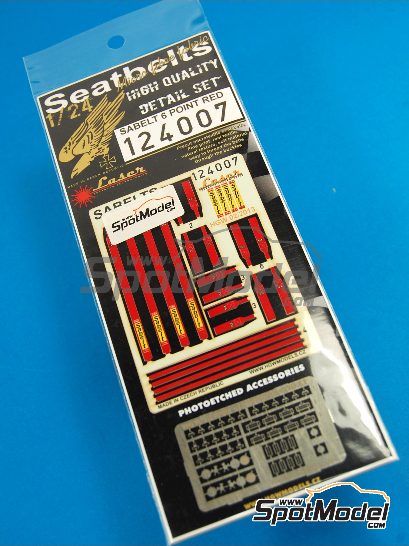 Sabelt 6 point seatbelt - Red color - Precut with laser   Seatbelts in 1/24 scale manufactured by HGW (ref.124007) image