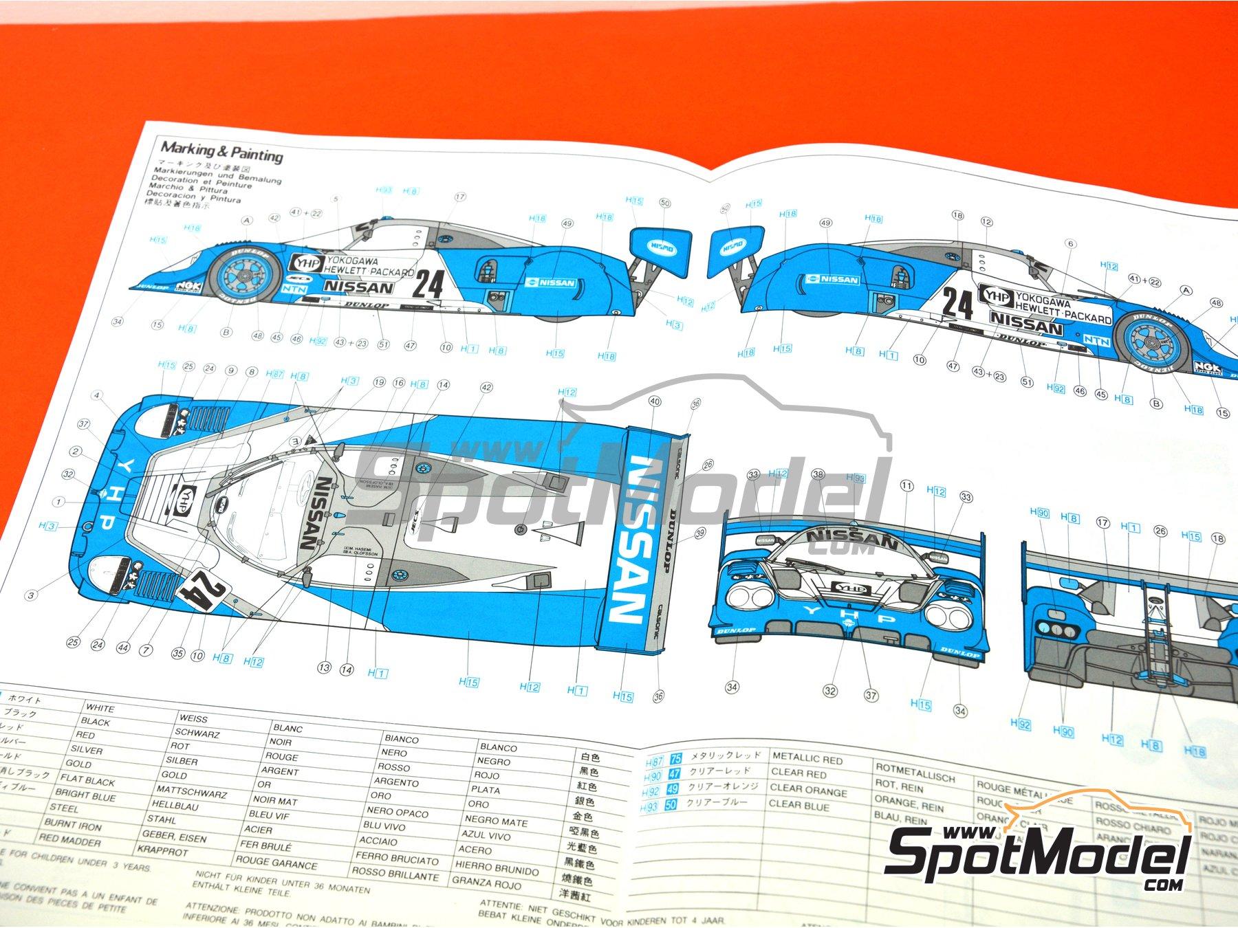 Image 10: Nissan R89C Yokogawa Hewlett Packard - Japan Sport Prototype Endurance Championship - JSPC 1989 | Model car kit in 1/24 scale manufactured by Hasegawa (ref.20244)
