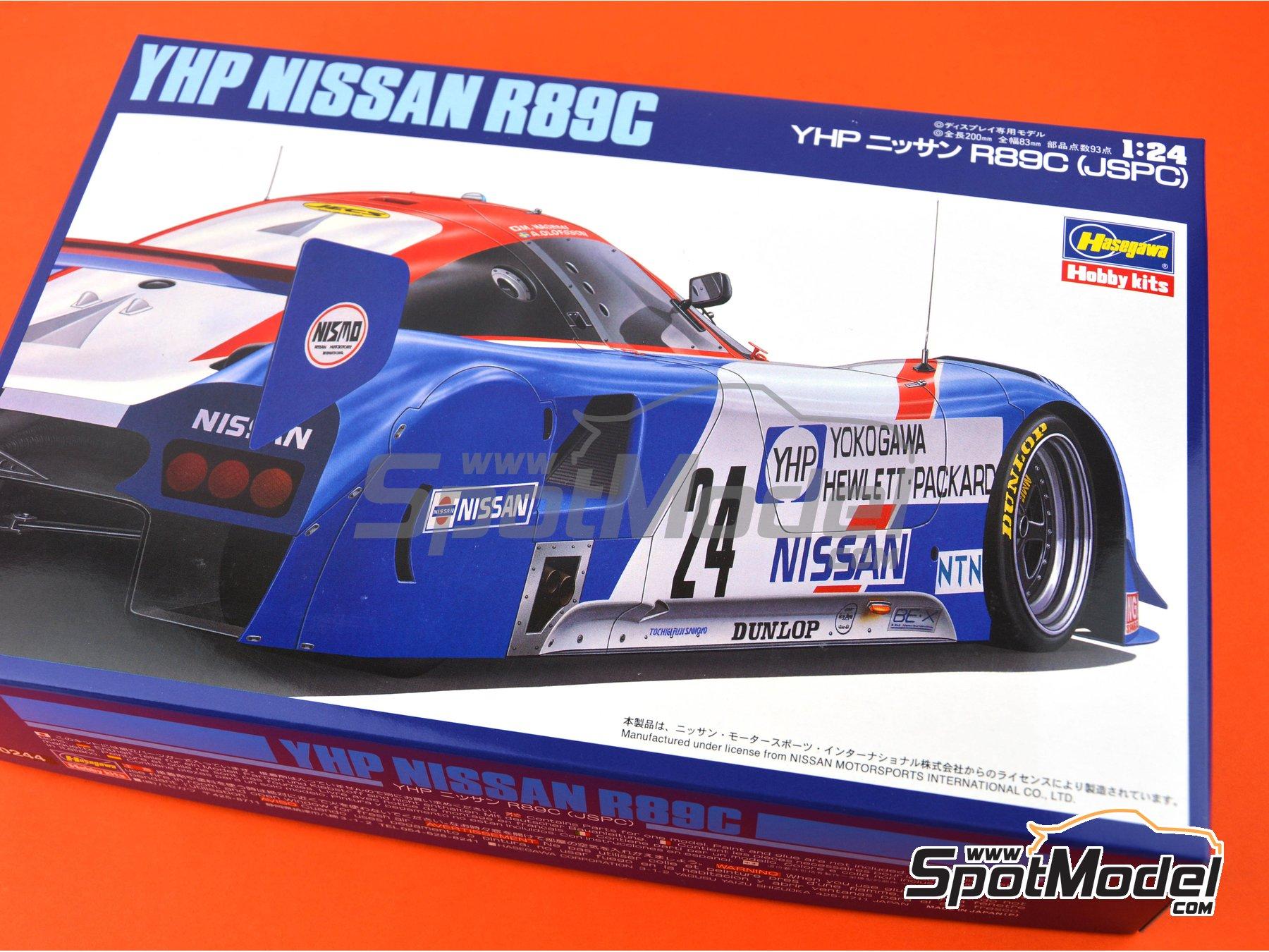 Image 11: Nissan R89C Yokogawa Hewlett Packard - Japan Sport Prototype Endurance Championship - JSPC 1989 | Model car kit in 1/24 scale manufactured by Hasegawa (ref.20244)