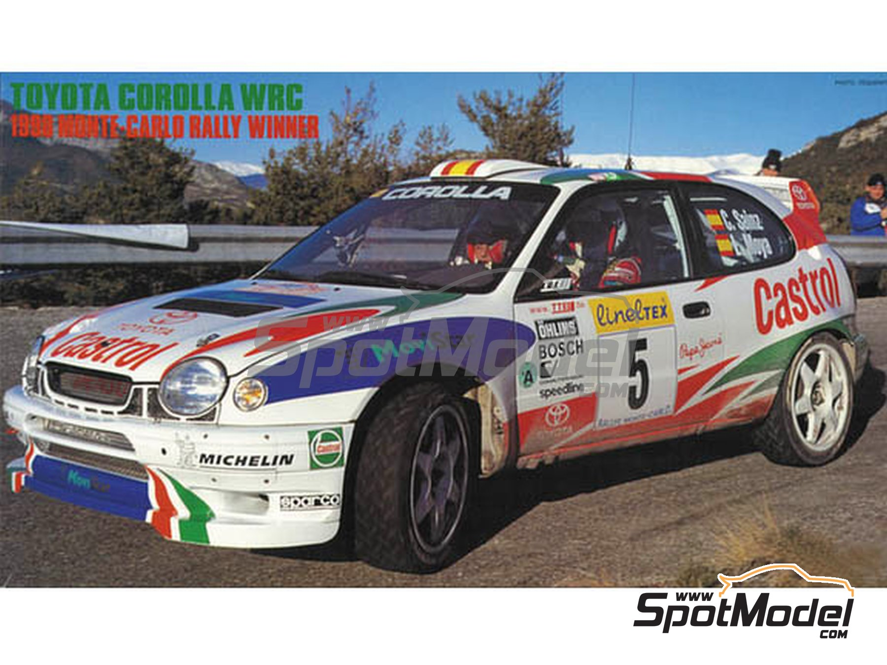 Image 1: Toyota Corolla WRC Castrol Movistar - Montecarlo Rally 1998 | Model car kit in 1/24 scale manufactured by Hasegawa (ref. 20266)