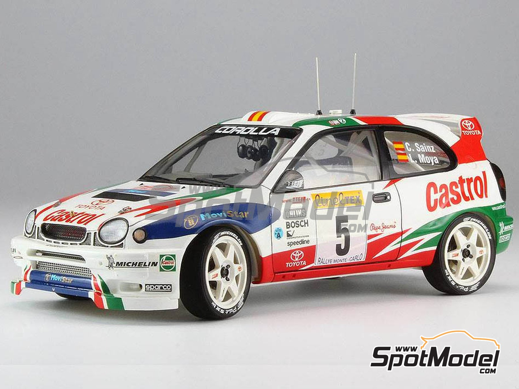 Image 2: Toyota Corolla WRC Castrol Movistar - Montecarlo Rally 1998 | Model car kit in 1/24 scale manufactured by Hasegawa (ref.20266)