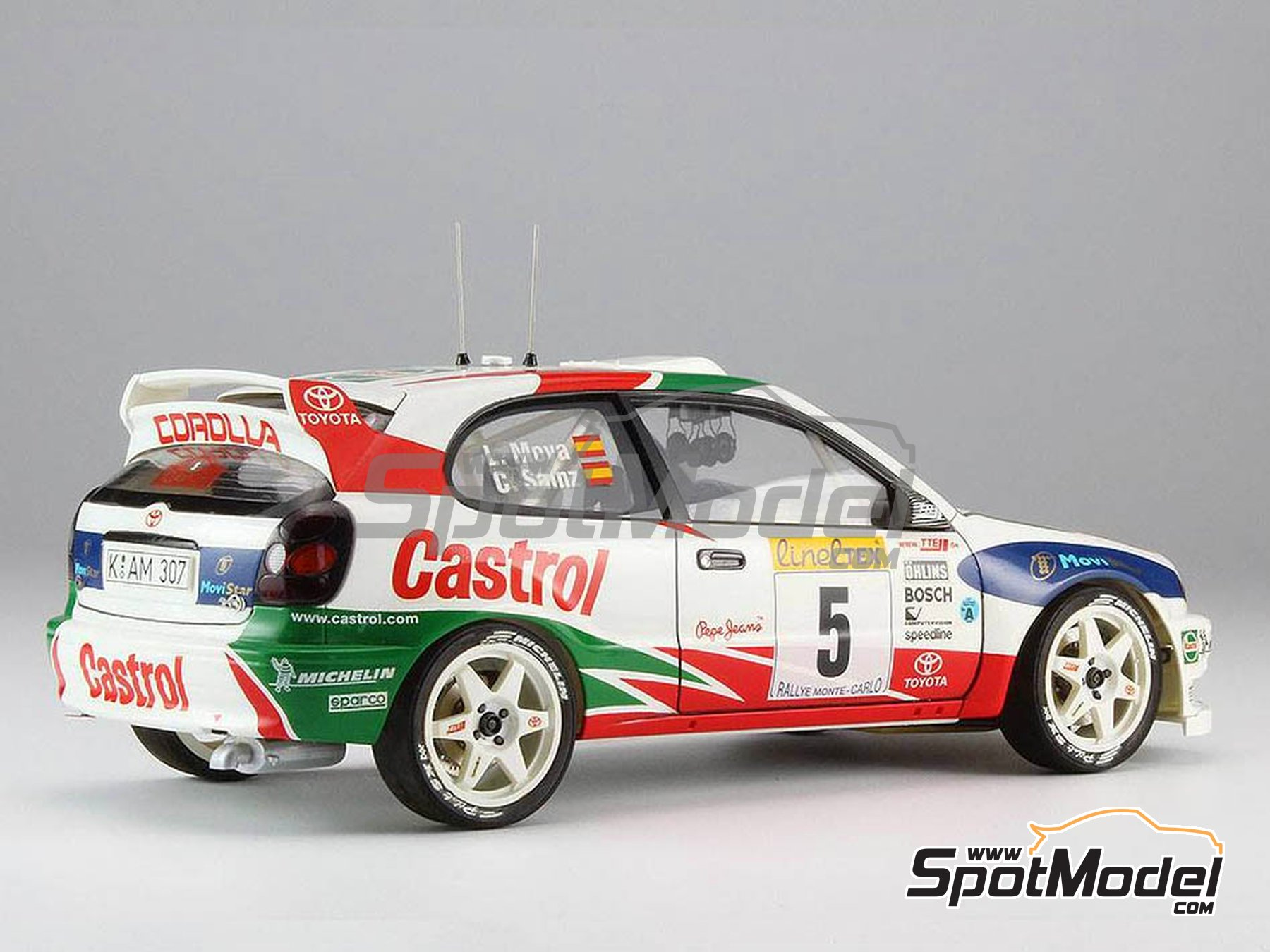 Image 3: Toyota Corolla WRC Castrol Movistar - Montecarlo Rally 1998 | Model car kit in 1/24 scale manufactured by Hasegawa (ref. 20266)