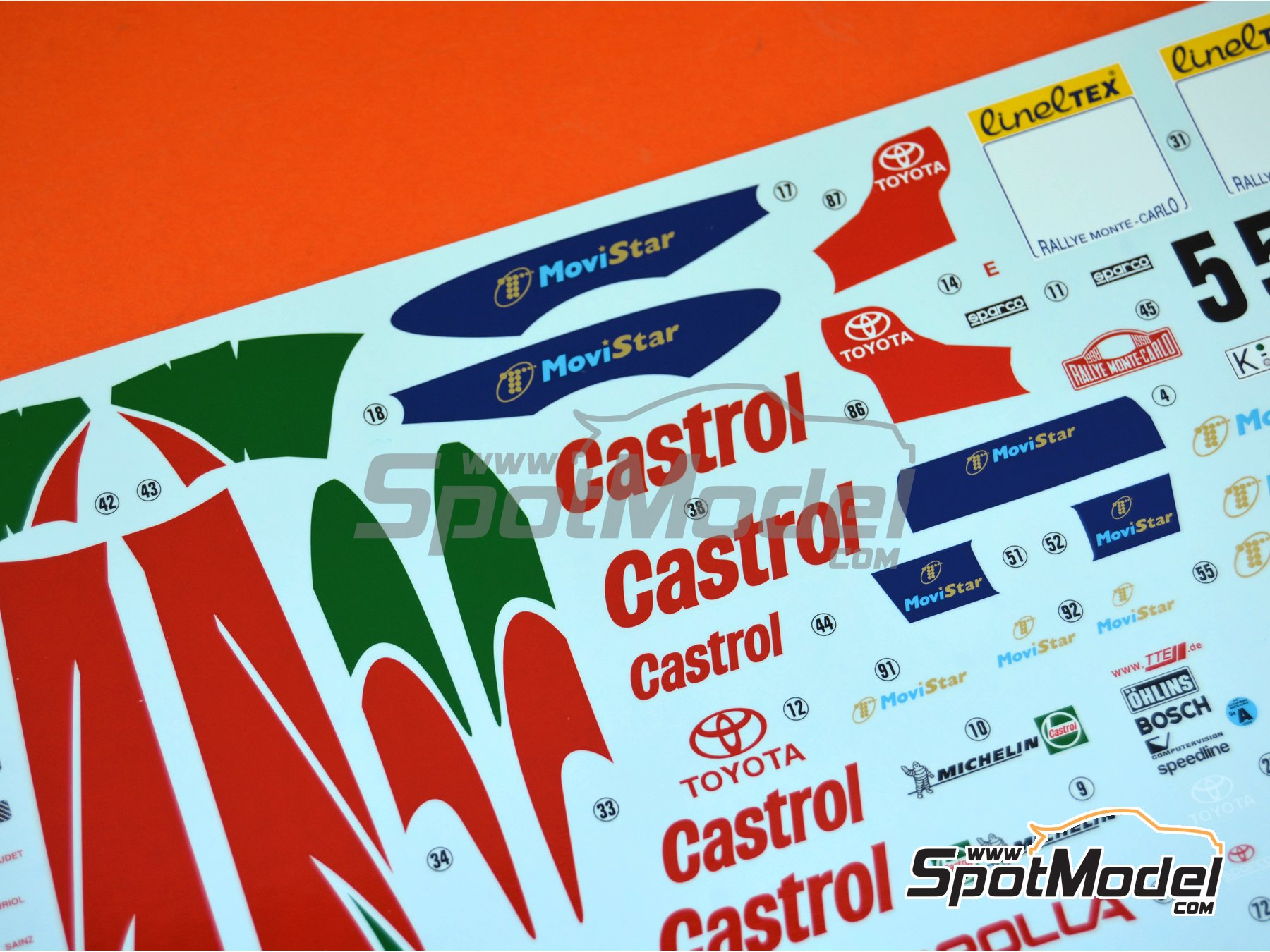 Image 11: Toyota Corolla WRC - Montecarlo Rally 1998 | Model car kit in 1/24 scale manufactured by Hasegawa (ref.20266)
