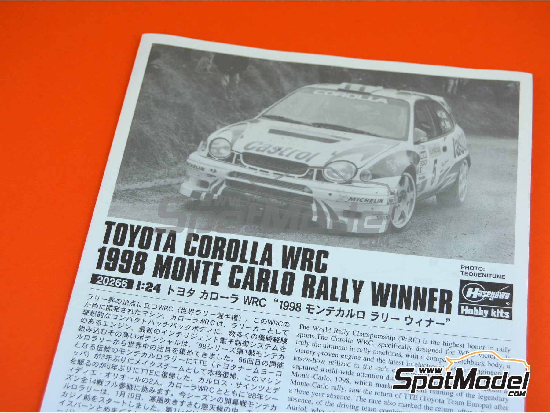 Image 14: Toyota Corolla WRC Castrol Movistar - Montecarlo Rally 1998 | Model car kit in 1/24 scale manufactured by Hasegawa (ref.20266)