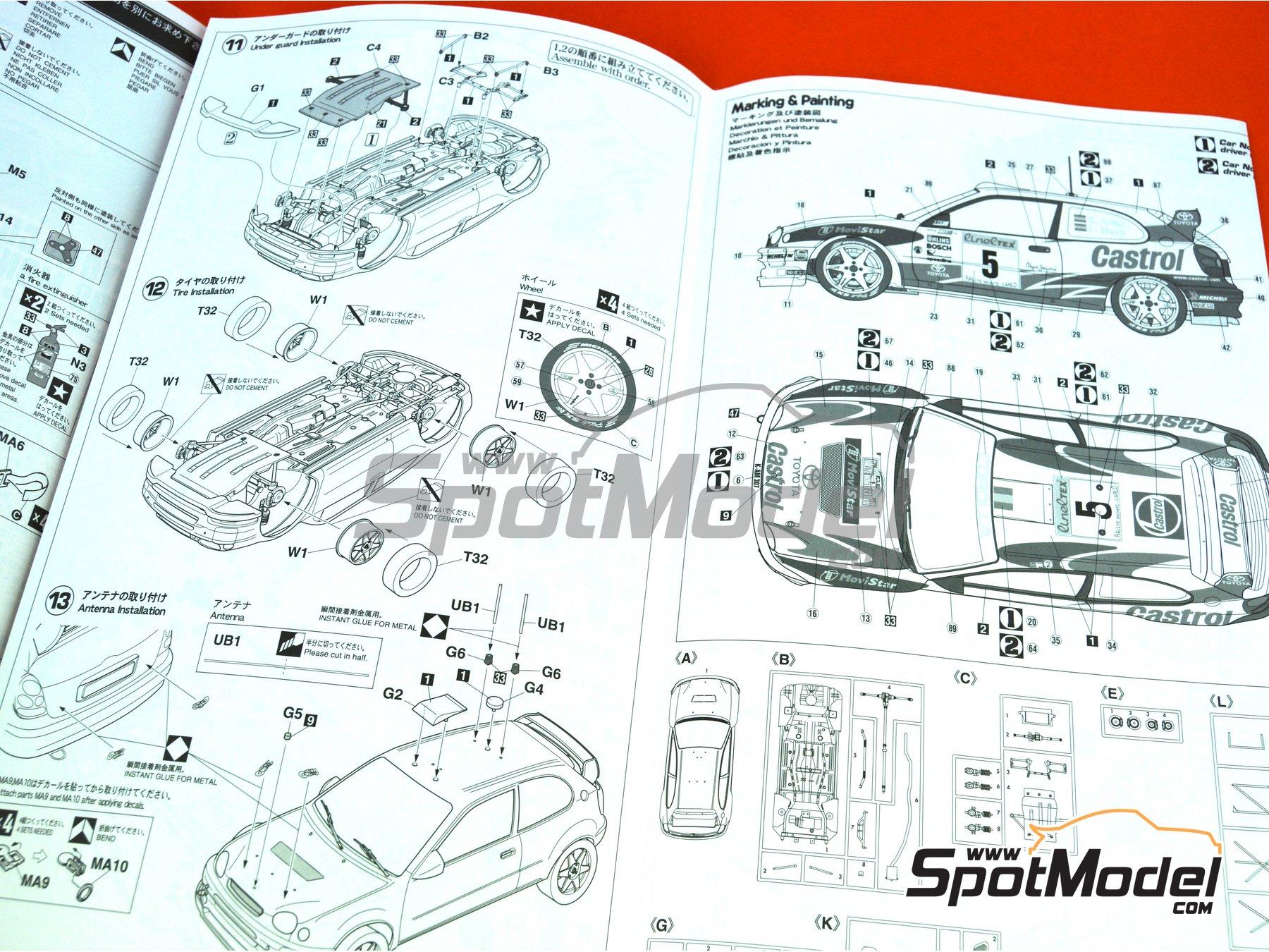 Image 16: Toyota Corolla WRC - Montecarlo Rally 1998 | Model car kit in 1/24 scale manufactured by Hasegawa (ref.20266)