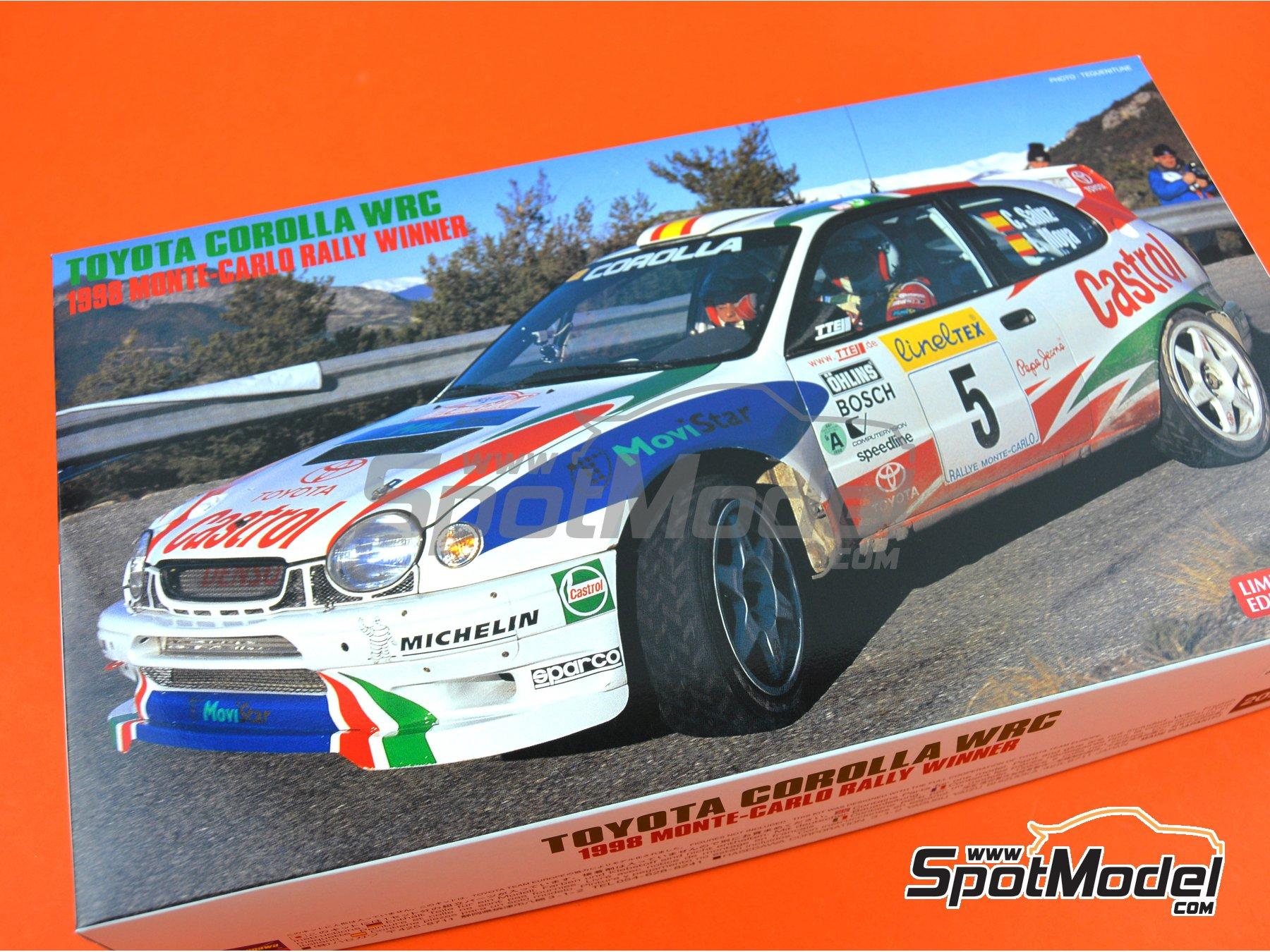 Image 18: Toyota Corolla WRC Castrol Movistar - Montecarlo Rally 1998 | Model car kit in 1/24 scale manufactured by Hasegawa (ref. 20266)