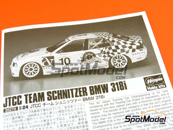 Image 13: BMW 318i Team Schnitzer - Japan Touring Car Championship (JTCC) 1994 | Model car kit in 1/24 scale manufactured by Hasegawa (ref.20270)