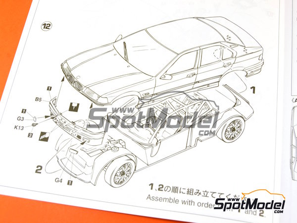 Image 16: BMW 318i Team Schnitzer - Japan Touring Car Championship (JTCC) 1994 | Model car kit in 1/24 scale manufactured by Hasegawa (ref.20270)