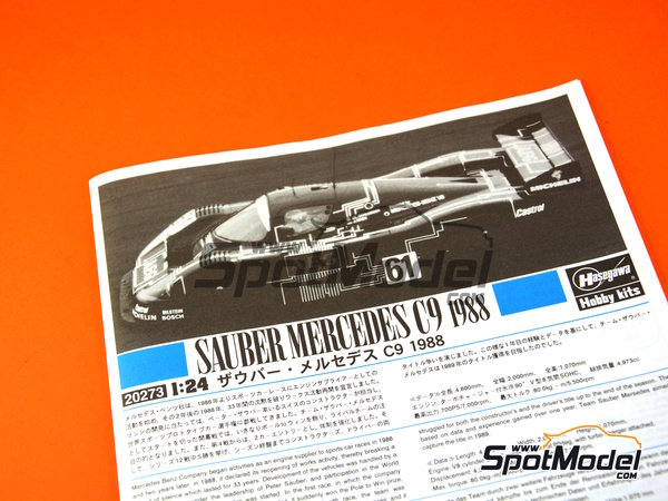 Image 6: Sauber Mercedes C9 - 24 Hours Le Mans 1988 | Model car kit in 1/24 scale manufactured by Hasegawa (ref. 20273)