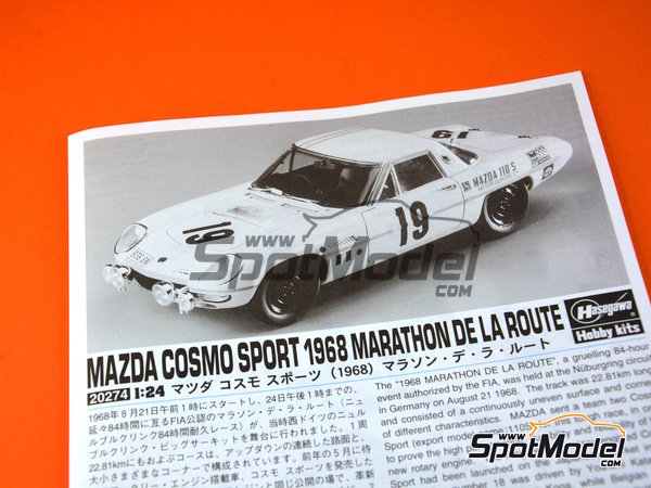 Image 7: Mazda Cosmo Sport - Marathon de la Route 1968 | Model car kit in 1/24 scale manufactured by Hasegawa (ref. 20274)