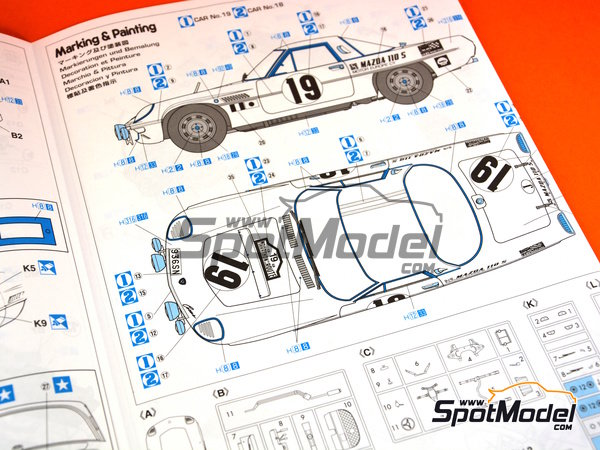 Image 11: Mazda Cosmo Sport - Marathon de la Route 1968 | Model car kit in 1/24 scale manufactured by Hasegawa (ref. 20274)