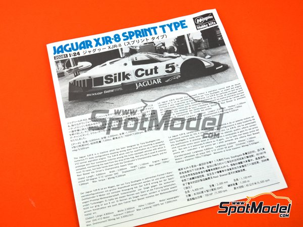 Image 6: Jaguar XJR-8 Sprint Type Silk Cut - FIA World Sports-Prototype Championship - WSPC 1987 | Model car kit in 1/24 scale manufactured by Hasegawa (ref. 20281)