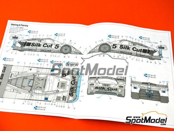 Image 8: Jaguar XJR-8 Sprint Type Silk Cut - FIA World Sports-Prototype Championship - WSPC 1987 | Model car kit in 1/24 scale manufactured by Hasegawa (ref. 20281)