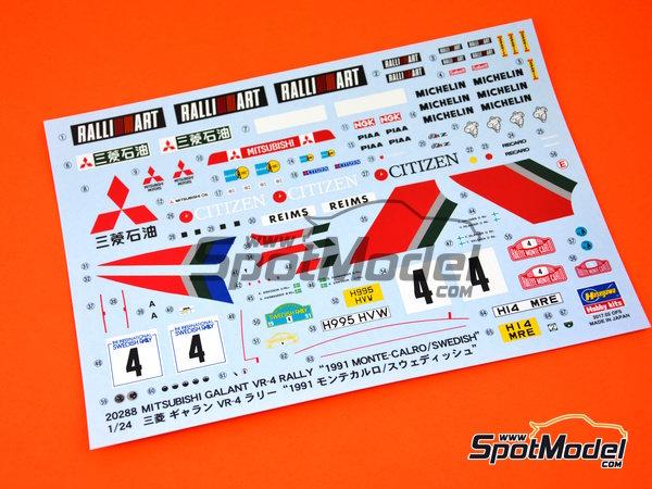 Image 8: Mitsubishi Galant VR-4 Ralli Art - Rally de Montecarlo, Gran Premio de Suecia 1991 | Maqueta de coche en escala1/24 fabricado por Hasegawa (ref.20288)