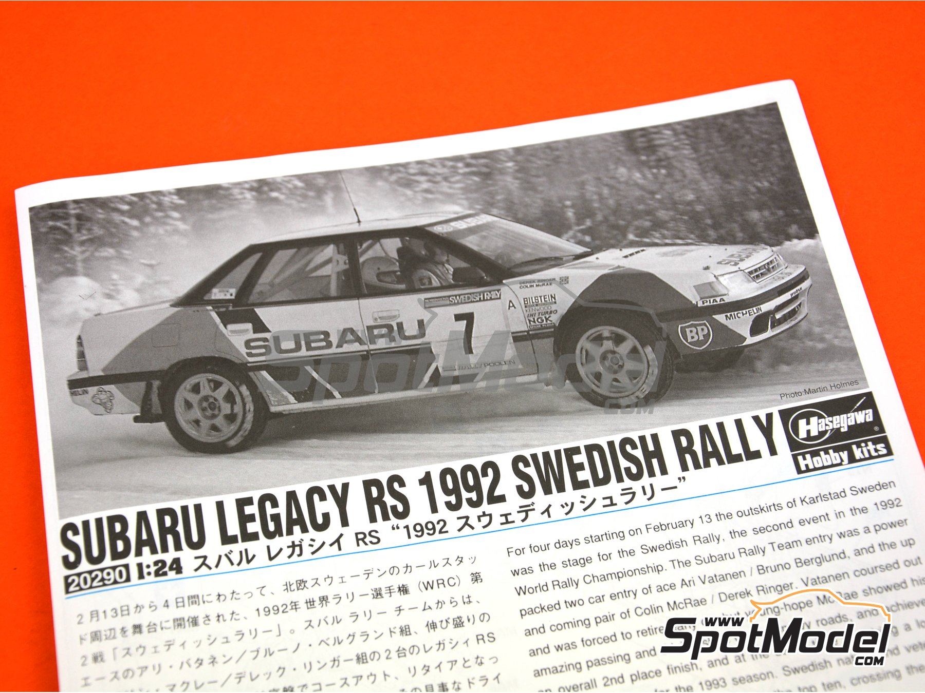 Image 15: Subaru Legacy RS - Svezia Sweden Rally 1992 | Model car kit in 1/24 scale manufactured by Hasegawa (ref. 20290)
