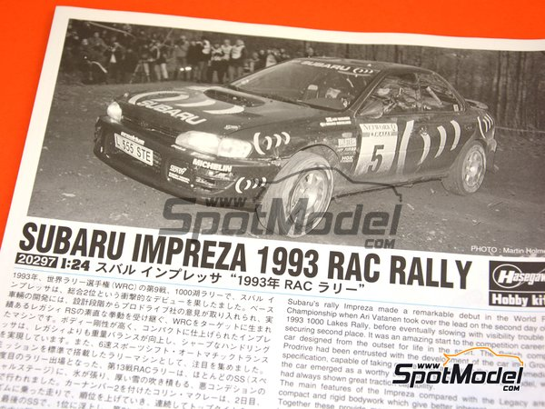 Image 20: Subaru Impreza WRX Subaru Team - Great Britain RAC Rally 1993 | Model car kit in 1/24 scale manufactured by Hasegawa (ref. 20297)