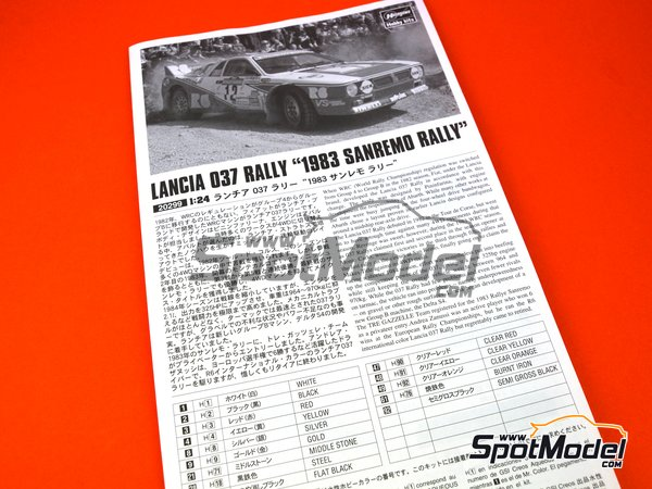 Image 9: Lancia 037 Rally R6 International - Sanremo Rally 1983 | Model car kit in 1/24 scale manufactured by Hasegawa (ref.20299)