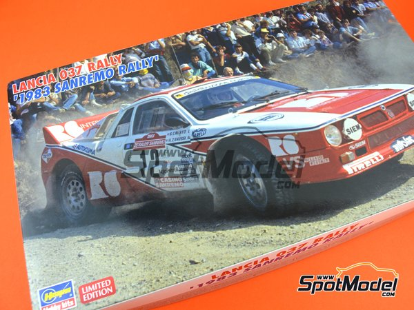 Image 12: Lancia 037 Rally R6 International - Sanremo Rally 1983 | Model car kit in 1/24 scale manufactured by Hasegawa (ref. 20299)