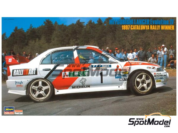 Image 1: Mitsubishi Lancer Evolution IV - Catalunya Costa Dorada RACC Rally 1997 | Model car kit in 1/24 scale manufactured by Hasegawa (ref. 20310)