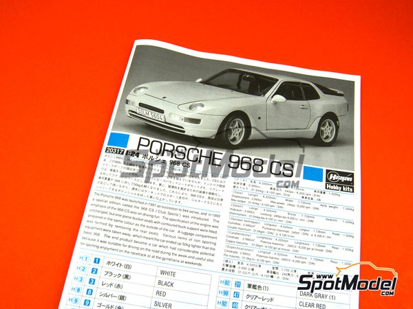 Image 8: Porsche 968 Club Sport | Model car kit in 1/24 scale manufactured by Hasegawa (ref.20317)