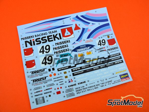 Image 6: Porsche 962C Nisseki Trust Racing Team - 24 Hours Le Mans 1991 | Model car kit in 1/24 scale manufactured by Hasegawa (ref. 20318)