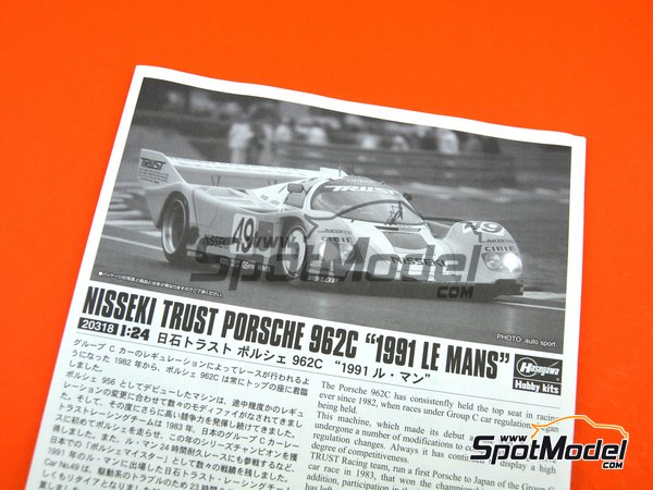 Image 7: Porsche 962C Nisseki Trust Racing Team - 24 Hours Le Mans 1991 | Model car kit in 1/24 scale manufactured by Hasegawa (ref. 20318)