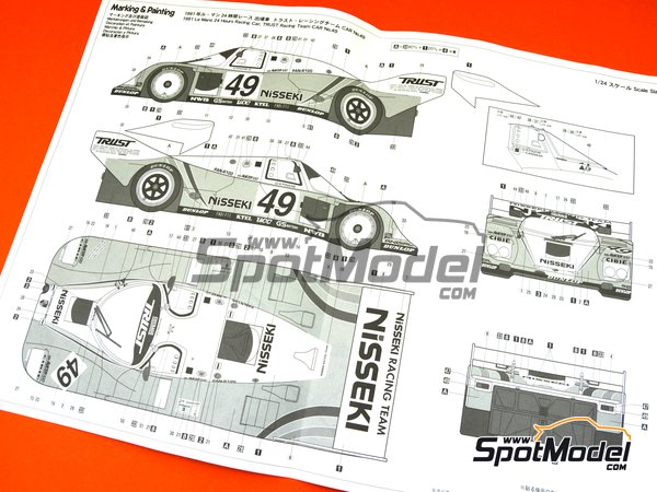 Image 10: Porsche 962C Nisseki Trust Racing Team - 24 Hours Le Mans 1991 | Model car kit in 1/24 scale manufactured by Hasegawa (ref. 20318)