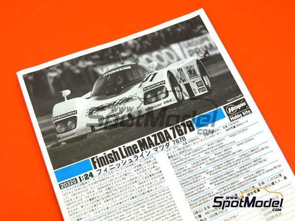 Image 5: Mazda 767B Finish Line - 24 Hours Le Mans 1989 | Model car kit in 1/24 scale manufactured by Hasegawa (ref.20325)