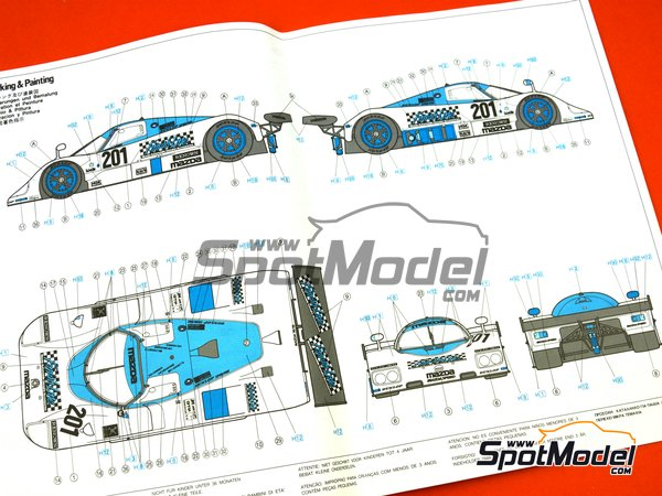 Image 8: Mazda 767B Finish Line - 24 Hours Le Mans 1989 | Model car kit in 1/24 scale manufactured by Hasegawa (ref.20325)