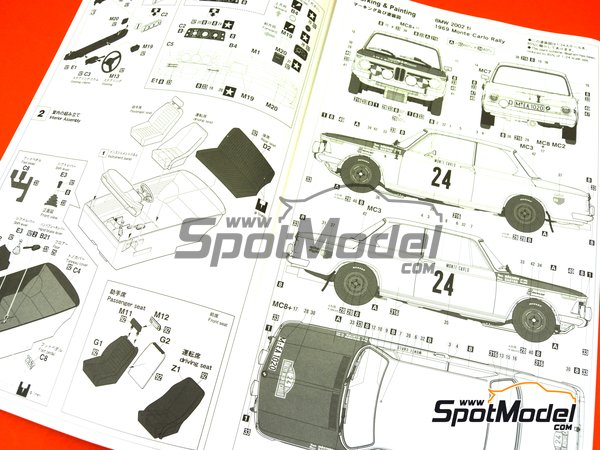 Image 13: BMW 2002 tii - Montecarlo Rally - Rallye Automobile de Monte-Carlo 1969   Model car kit in 1/24 scale manufactured by Hasegawa (ref.20332)